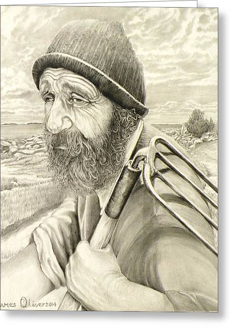 Floyd Morris The Clam Digger  Greeting Card by James Oliver