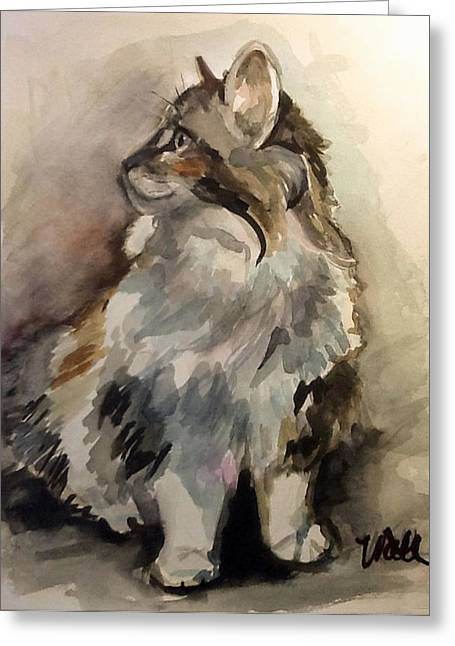 Fluffy Cat Greeting Card by Pattie Wall