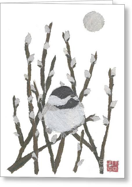 Chickadee Art Hand-torn Newspaper Collage Art By Keiko Suzuki Bless Hue Greeting Card by Keiko Suzuki