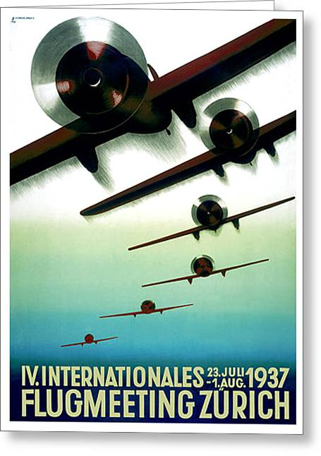 Flugmeeting Zurich Advertising Poster Greeting Card