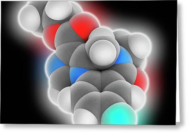 Flumazenil Drug Molecule Greeting Card by Laguna Design