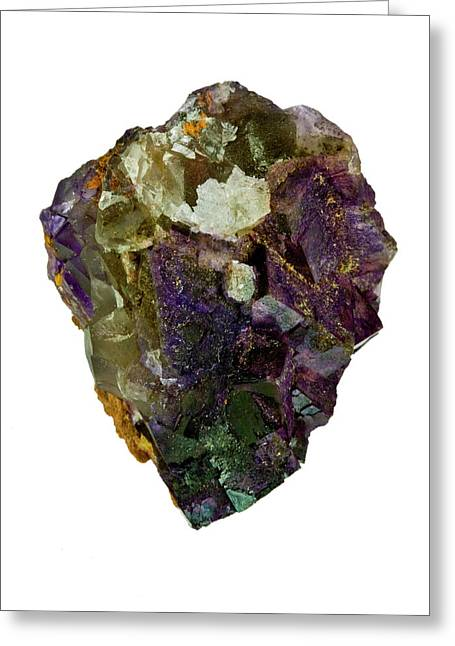 Fluorite Crystal Specimen Greeting Card by Natural History Museum, London/science Photo Library