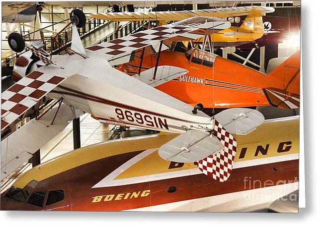 Flurry Of Aircraft At The Smithsonian Udvar-hazy Center Greeting Card by William Kuta
