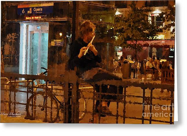 Flutist In The Plaza De La Opera Madrid Greeting Card by Mary Machare