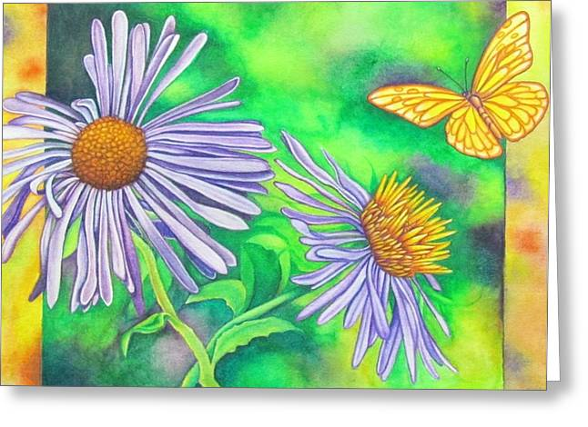 Flutters And Flowers Greeting Card by Cynthia Stewart