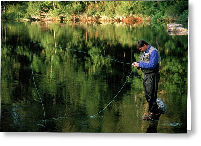 Fly Fisherman In River Greeting Card
