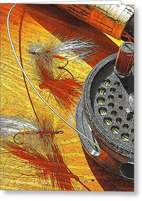 Fly Fisherman's Table Digital Art Greeting Card