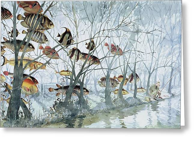 Fly Fishing Greeting Card by Lucy Willis