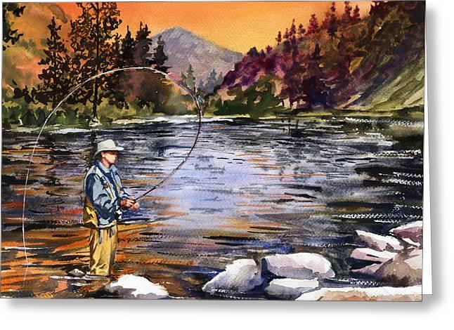Fly Fishing At Sunset Mountain Lake Greeting Card by Beth Kantor