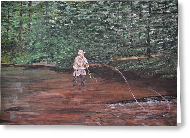 Fly Fishing Greeting Card by Debbie Baker