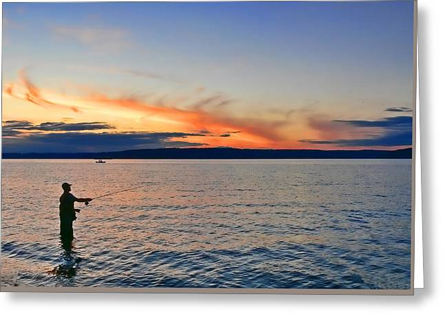 Fly Fishing  Fisherman On Puget Sound Washington Greeting Card by Jennie Marie Schell