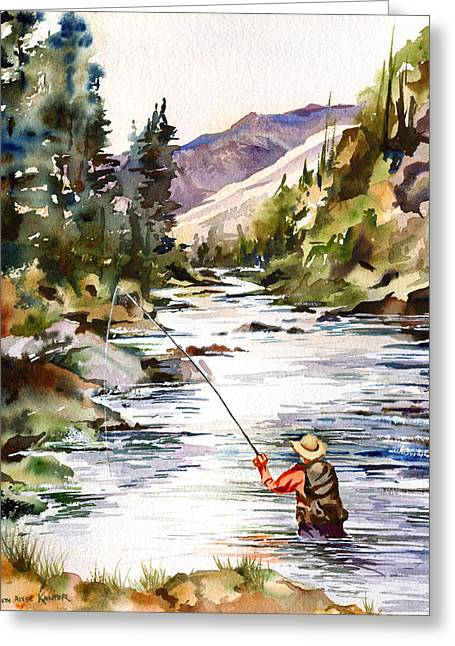 Fly Fishing In The Mountains Greeting Card by Beth Kantor