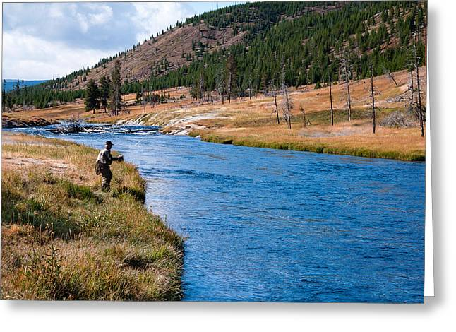 Fly Fishing In Yellowstone  Greeting Card by Lars Lentz