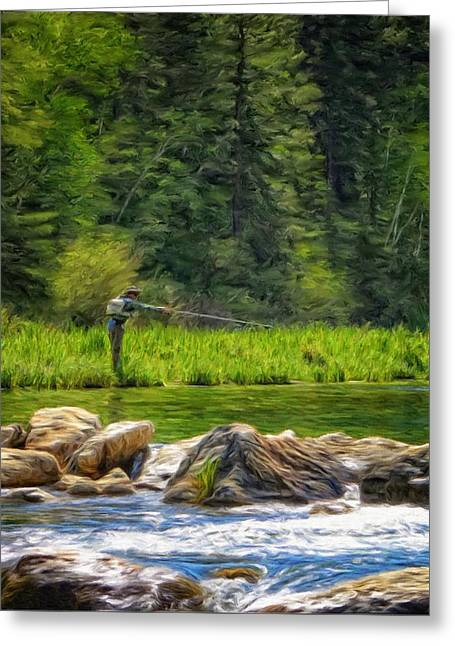 Fly Fishing In Spearfish Canyon Greeting Card by Ray Van Gundy