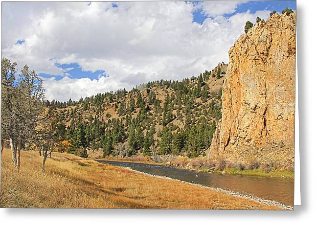 Fly Fishing The Big Hole River Montana Greeting Card by Jennie Marie Schell