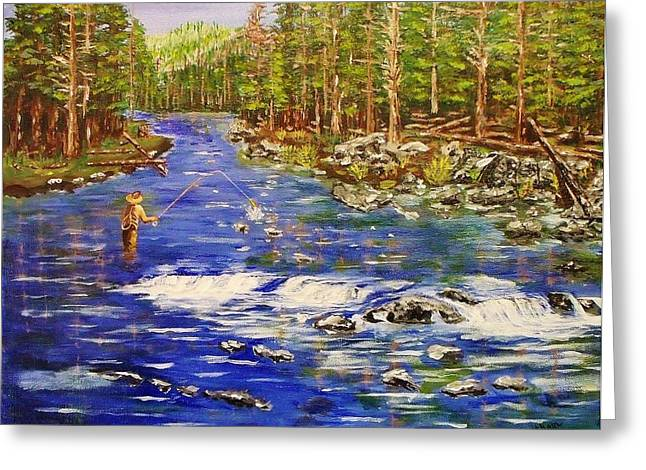 Fly Fishing The Sierras Greeting Card