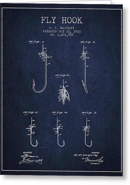 Fly Hook Patent From 1923 - Navy Blue Greeting Card