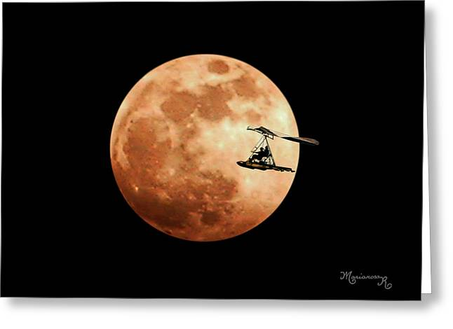 Fly Me To The Moon Greeting Card by Mariarosa Rockefeller