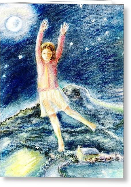 Fly Me To The Moon Greeting Card by Trudi Doyle