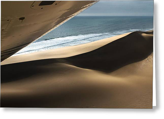 Greeting Card featuring the photograph Fly Over The Namib by Juergen Klust