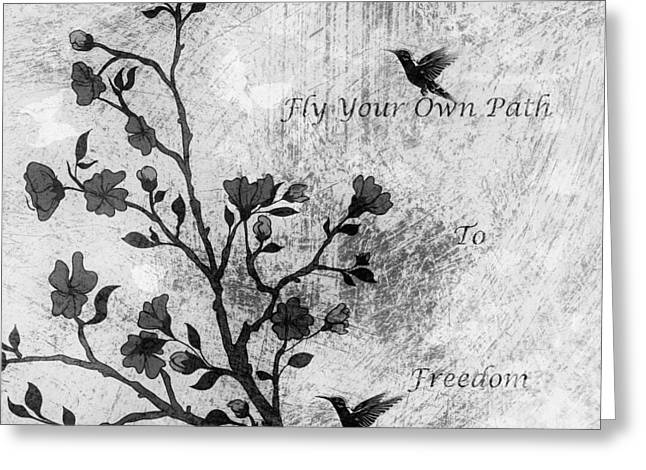 Fly Your Way To Freedom Black And White Greeting Card by Georgiana Romanovna
