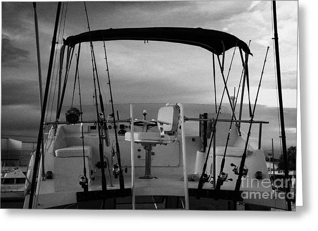 Flybridge On A Charter Fishing Boat In Early Morning Light Key West Florida Usa Greeting Card by Joe Fox