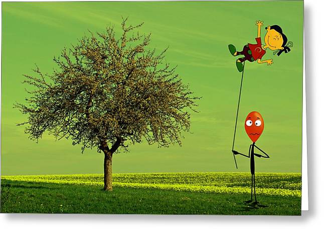Flying A Balloon In A Parallel Universe Greeting Card