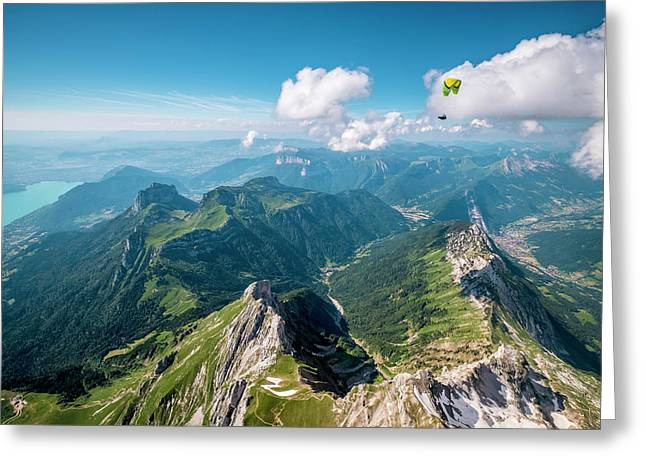 Flying Above La Tournette With Francis Boehm bimbo Greeting Card