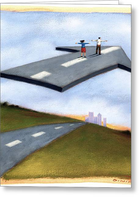Flying Arrow Road Greeting Card by Steve Dininno