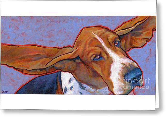 Flying Basset Hound Greeting Card by Lynn Culp
