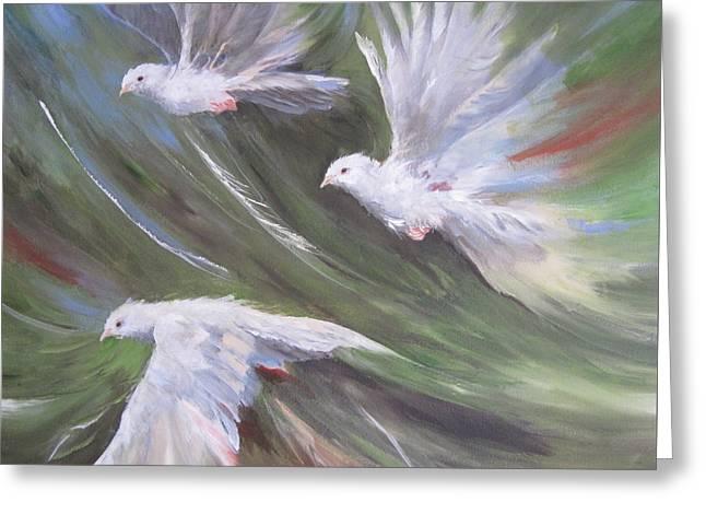 Flying Birds Greeting Card by Paula Marsh