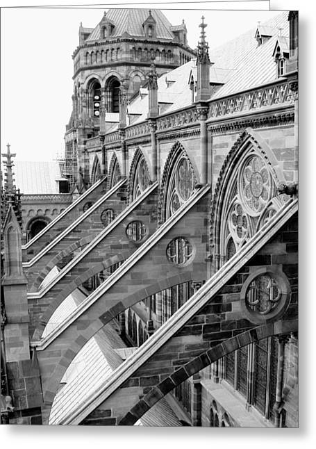 Flying Buttresses Bw Greeting Card