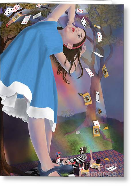 Flying Cards Dissolve Alice's Dream Greeting Card by Audra D Lemke