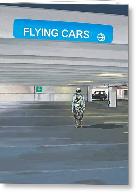 Flying Cars To The Right Greeting Card by Scott Listfield