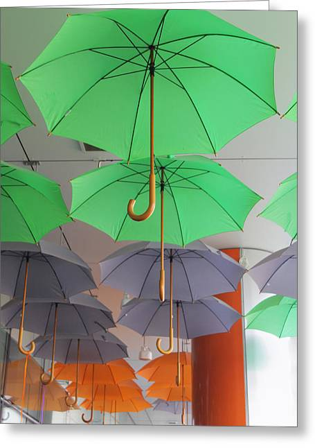Flying Colorful Umbrellas  Greeting Card by Diana Dimitrova