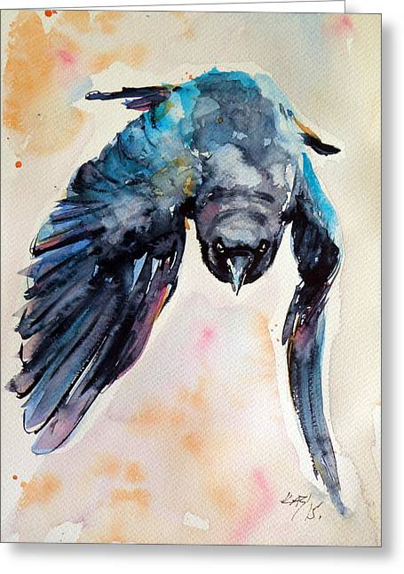 Flying Crow Greeting Card by Kovacs Anna Brigitta