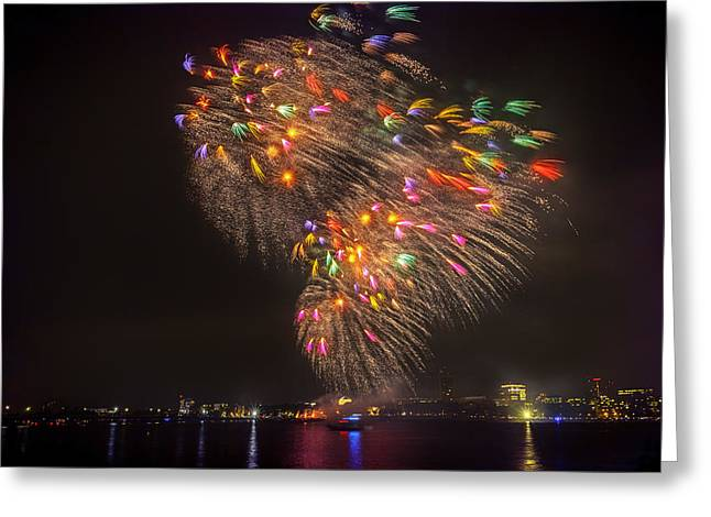 Flying Feathers Of Boston Fireworks Greeting Card by Sylvia J Zarco