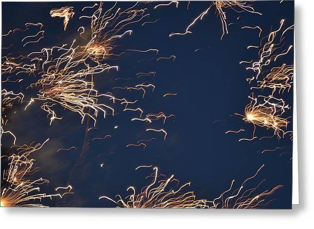 Flying Fireworks Greeting Card by Kim Stafford