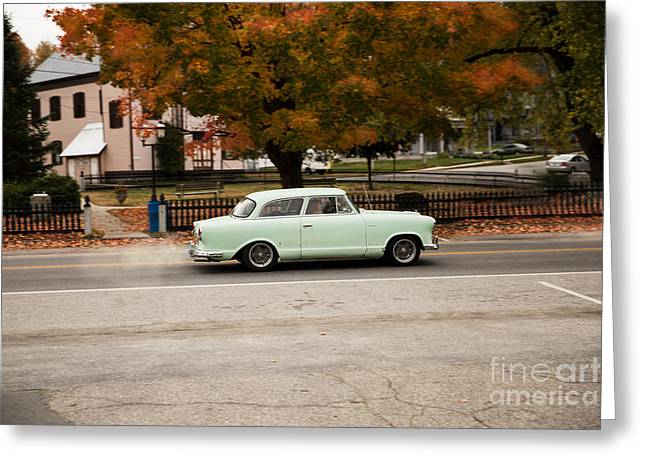 Flying Ford Anglia Greeting Card by Brenda Giasson