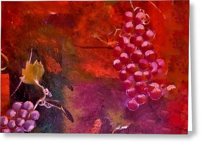 Flying Grapes Greeting Card