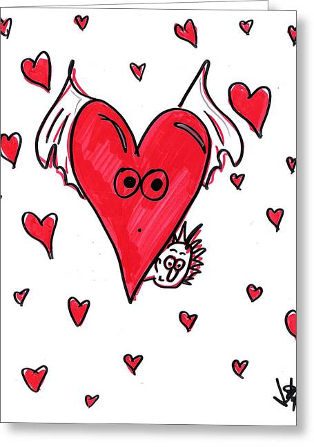 Flying Heart Hider Greeting Card by Jera Sky