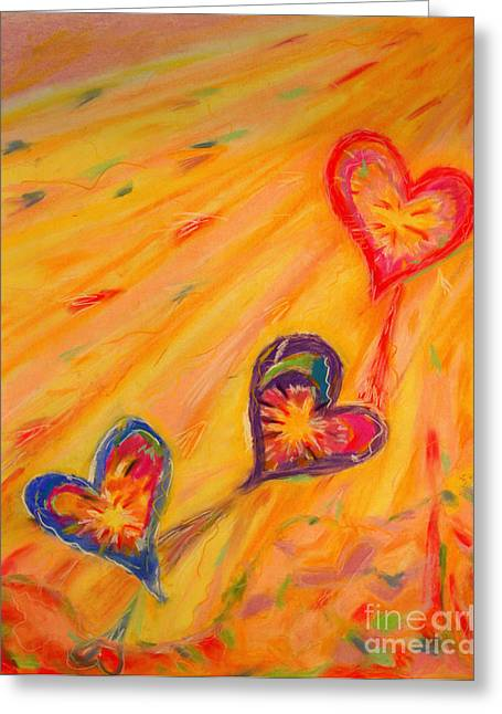 Flying Hearts Greeting Card by Kelly Athena