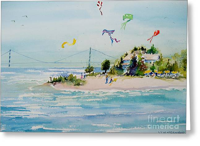 Greeting Card featuring the painting Flying High On Mackinac Island by Sandra Strohschein