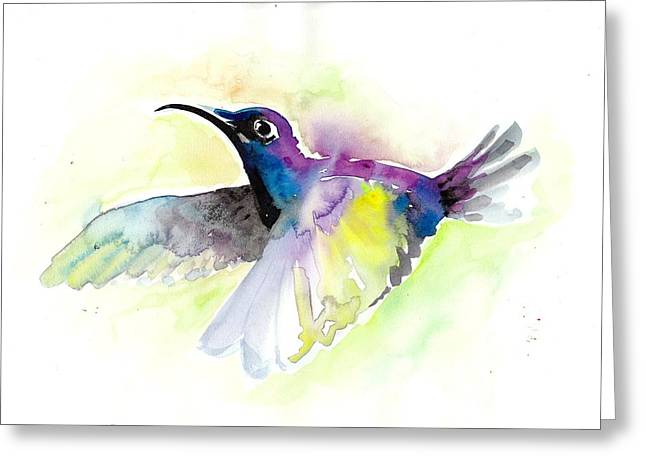 Flying Hummingbird Watercolor Greeting Card by Tiberiu Soos