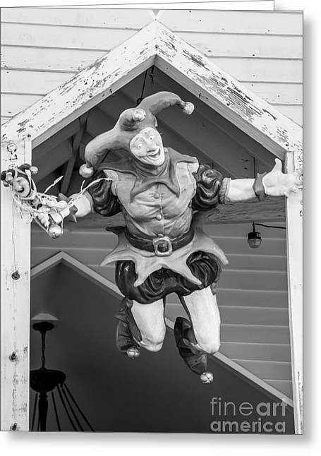 Flying Jester Duval Street Key West - Black  And White Greeting Card by Ian Monk