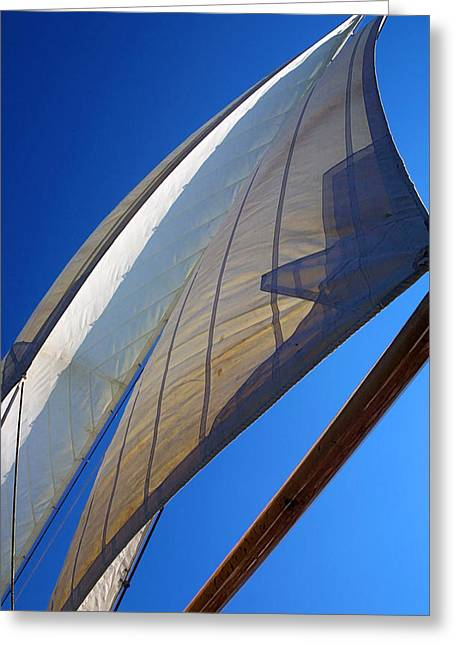 Sailboat Photos Greeting Cards - Flying Jibs Greeting Card by Bill Caldwell -        ABeautifulSky Photography