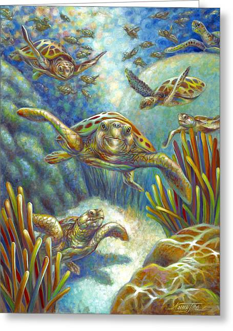 Greeting Card featuring the painting Flying Loggerhead Turtles by Nancy Tilles