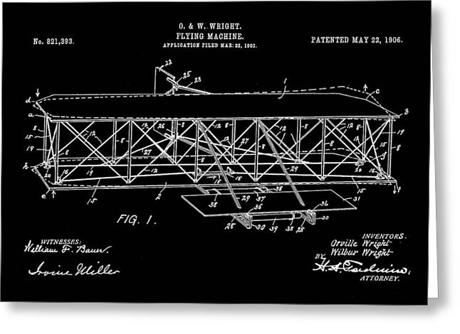 Flying Machine Patent 1903 - Black Greeting Card by Stephen Younts