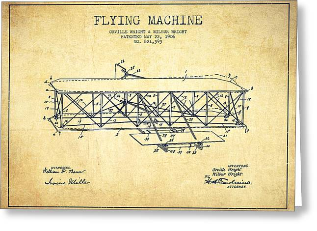 Flying Machine Patent Drawing From 1906 - Vintage Greeting Card by Aged Pixel