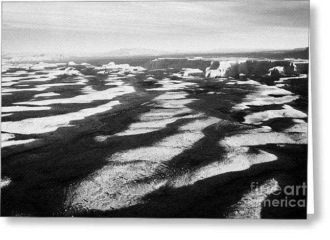 flying over land approaches to the rim of the grand canyon Arizona USA Greeting Card by Joe Fox